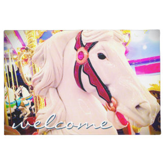 """Welcome"" Fun, Cute Carnival Carousel Horse Photo Doormat"
