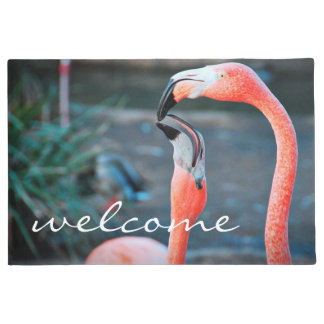 """Welcome"" Fun & Cute Orange Pink Flamingos Photo Doormat"