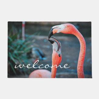 """""""Welcome"""" fun orange pink flamingos photo doormat"""