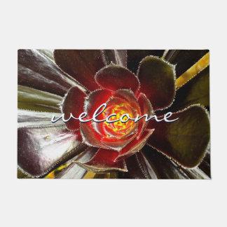 """Welcome"" Giant Orange Black Cactus Close-up Photo Doormat"