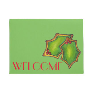 WELCOME Green Holly Spring Christmas Cookie Xmas Doormat