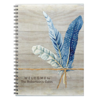 Welcome Guest Book Cabin Decor Wood Board Feather Notebooks