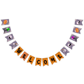 Welcome Halloween Party Skeletons Bunting Flags