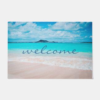 """""""Welcome"""" Hawaii Aqua Ocean & Sandy Beach Photo Doormat"""