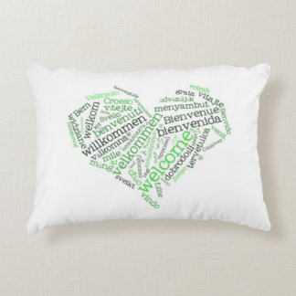 Welcome Heart Green Decorative Pillow