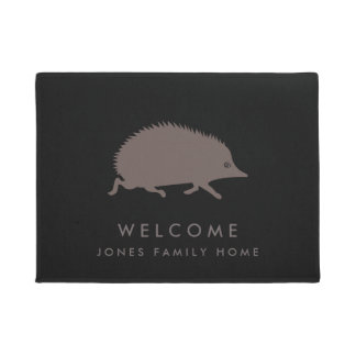 Welcome Hedgehog Custom Family Name Doormat