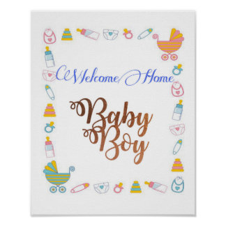 Welcome Home Baby Boy with Copper foil font Poster