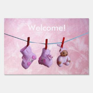 Welcome home baby girl yard flag