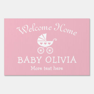 WELCOME HOME baby shower yard sign with carriage