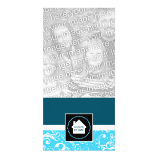 welcome home blue damask customized photo card