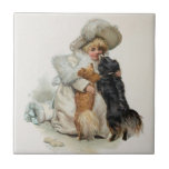 Welcome Home Cute Vintage Terrier Dogs Ceramic Tile