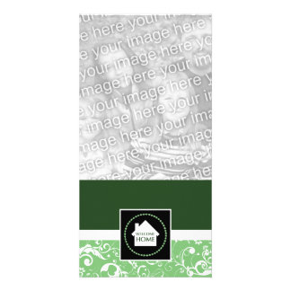 welcome home green damask personalized photo card