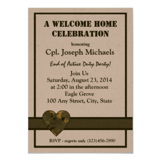 """Welcome Home Military 4.5"""" X 6.25"""" Invitation Card"""