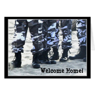Welcome Home Military boots greeting card