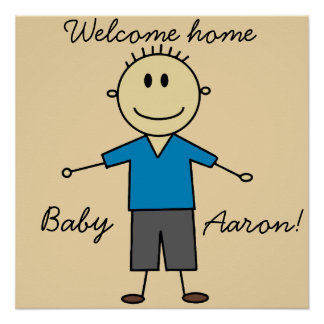 Welcome Home New Baby Boy Name Cute Stick Figure Poster