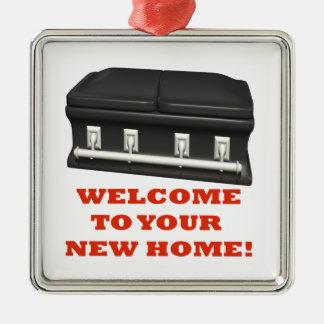 Welcome Home Silver-Colored Square Ornament