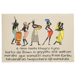 Welcome in 12 African languages Doormat