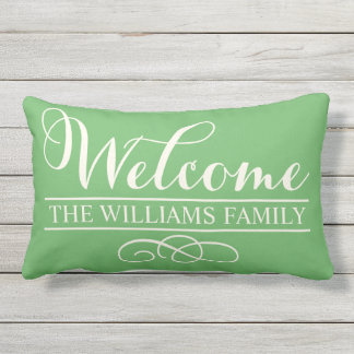 Welcome in Script | Green Custom Lumbar Pillow