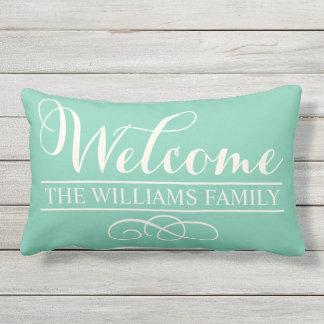 Welcome in Script | Jade Green Custom Outdoor Pillow