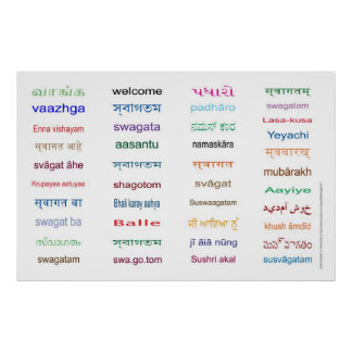 WELCOME in the Main Languages of INDIA - 5 Sizes ! Poster