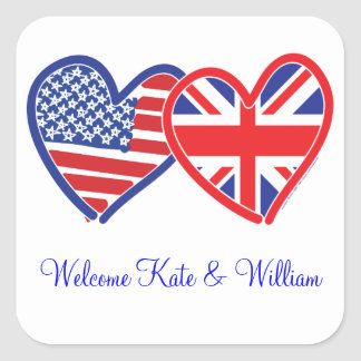 Welcome Kate & William/ Royal Wedding Square Sticker