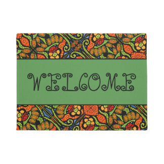 Welcome Ladybugs Pattern With Green Doormat