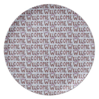 Welcome Letters Pattern Party Plates