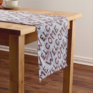 Welcome Letters Pattern Short Table Runner