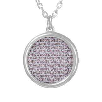 Welcome Letters Pattern Silver Plated Necklace