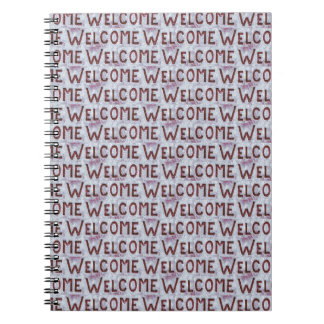 Welcome Letters Pattern Spiral Notebook
