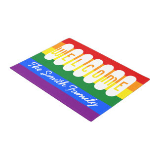Welcome LGBT Rainbow Flag Lesbian Gay Pride Doormat