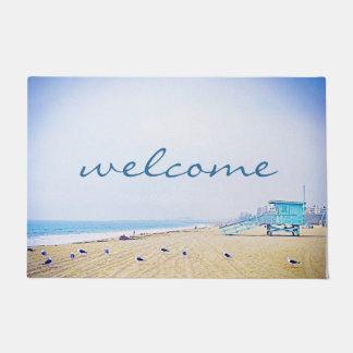 """Welcome"" Light Blue Sky & Golden Sand Beach Photo Doormat"