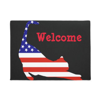 Welcome matt with cat and American Flag Doormat