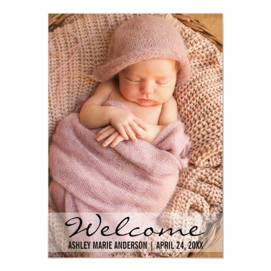 Welcome Modern Baby Birth Photo Announcement Card