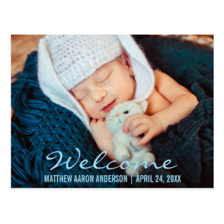 Welcome Modern New Baby Photo Announcement  Blue Postcard