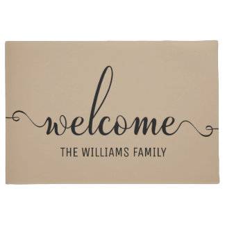 Welcome Modern Typography White and Brown Doormat