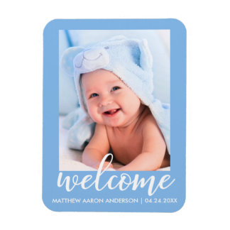 Welcome New Baby Announcement Blue Magnet