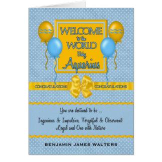 Welcome New Baby Boy Aquarius Congratulations Card