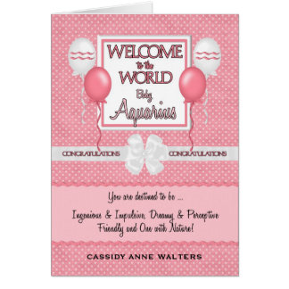 Welcome New Baby Girl Aquarius Congratulations Greeting Card