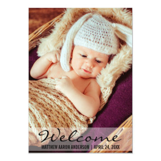Welcome New Baby Photo Announcement Card L