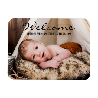 Welcome New Baby Photo Announcement Magnet BT