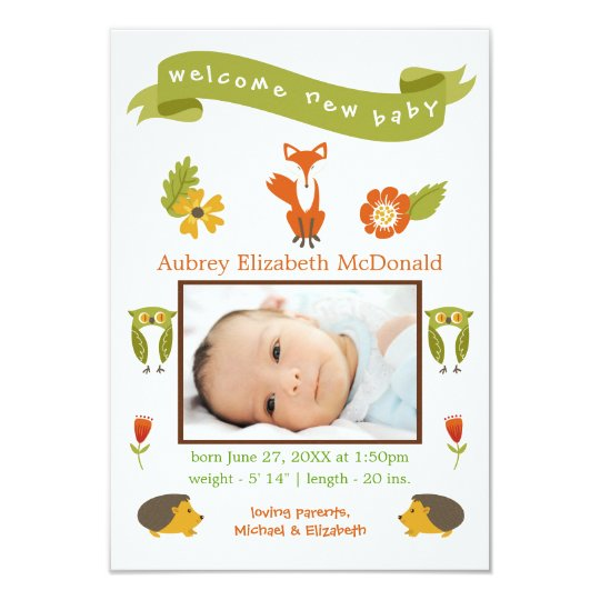 Welcome New Baby Woodland - 3x5 Birth Announcement