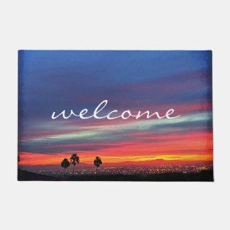 """Welcome"" orange blue & red sunrise photo doormat"