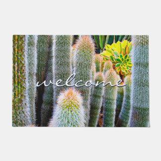 """Welcome"" Orange Green Fuzzy Cacti Close-up Photo Doormat"