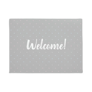 Welcome Pastel Dot Pattern Door Mat