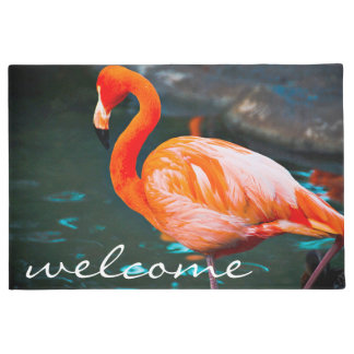 """Welcome"" peach orange pink flamingo photo doormat"