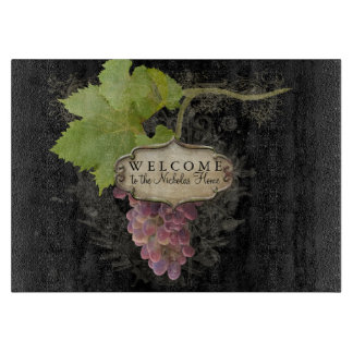 Welcome Personalized Home Pinot Noir Grapes Wine Cutting Board