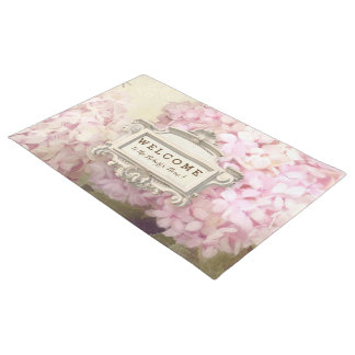 Welcome Personalized Vintage Style Pink Hydrangea Doormat