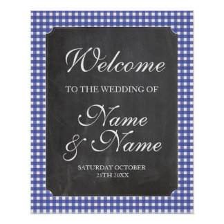Welcome Poster Blue Check Sign Wedding Poster