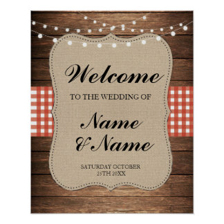 Welcome Poster Red Check Sign Wedding Wood Poster